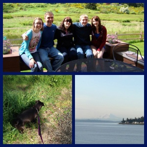 The people who put up with me, taking Little Dude for a walk (everything was SO INTERESTING) and an Obligatory Mount Rainier Picture.