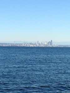 We spent Saturday afternoon in Seattle. It was sunny; therefore it was cold.